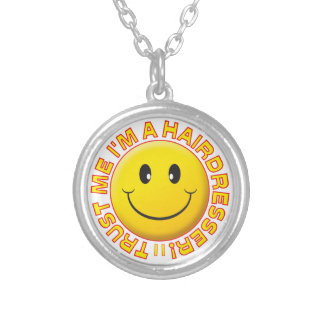 Hairdresser Trust Me Smiley Round Pendant Necklace