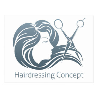 Hairdresser Woman Scissor Concept Postcard