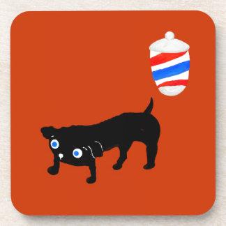 Hairdresser's black dog drink coaster