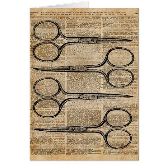 Hairdresser's Scissors Vintage Illustration Card