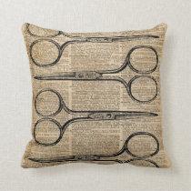 Hairdresser's Scissors Vintage Illustration Cushion