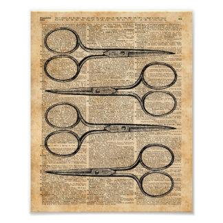 Hairdresser's Scissors Vintage Illustration Photo Print