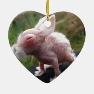 Hairless bunny ceramic heart decoration