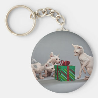 HAIRLESS CAT'S CHRISTMAS BASIC ROUND BUTTON KEY RING