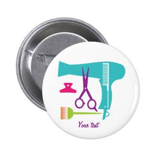 Hairstyles tools 6 cm round badge