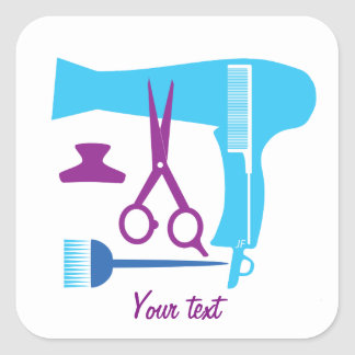 Hairstyles tools square sticker