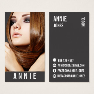 ★ Hairstylist-Actress-Model Modern Headshot ★ Business Card