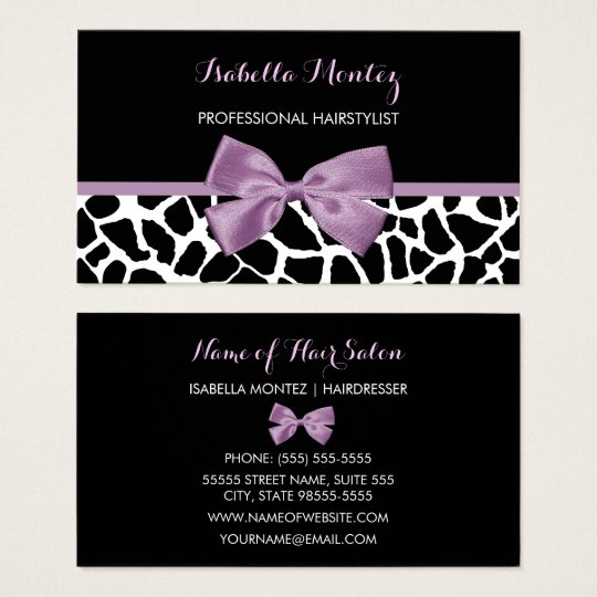 Hairstylist Cute Giraffe Print Lavender Purple Bow Business