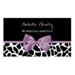 Hairstylist Cute Giraffe Print Lavender Purple Bow Pack Of Standard Business Cards