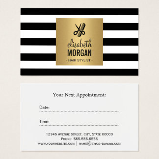 Hairstylist Gold Black White Stripes Appointment
