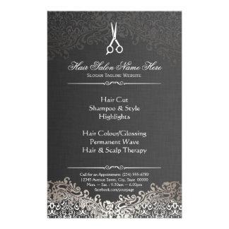 Hairstylist Hair Salon Elegant Dark Silver Damask Flyer