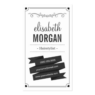 Hairstylist - Retro Black and White Pack Of Standard Business Cards