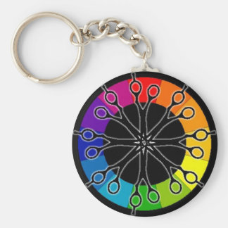 Hairstylist Scissors and Color Wheel Keychain