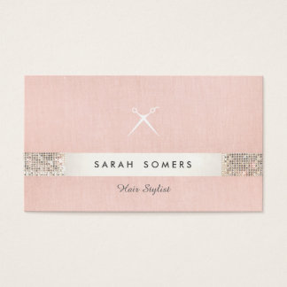 Hairstylist Scissors Logo FAUX Sequin Pink Salon 2 Business Card