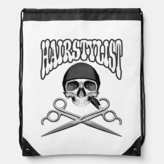 Hairstylist Skull Drawstring Bag