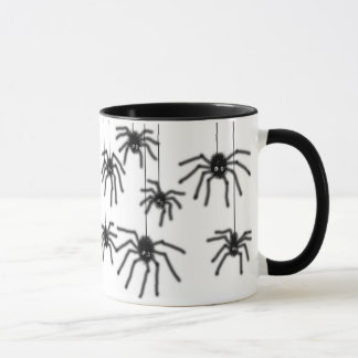 Hairy Cartoon Spiders Ringer Mug