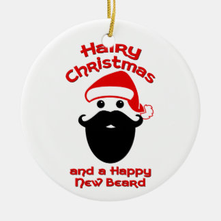 Hairy Christmas, Happy New Beard Christmas Ornament