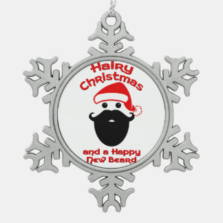 Hairy Christmas, Happy New Beard Pewter Snowflake Decoration