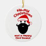 Hairy Christmas, Happy New Beard Round Ceramic Decoration