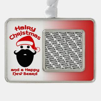 Hairy Christmas, Happy New Beard Silver Plated Framed Ornament