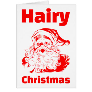 Hairy Christmas Red Santa Claus Card