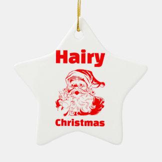 Hairy Christmas Red Santa Claus Christmas Ornament