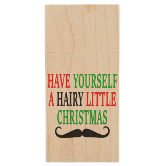 Hairy Little Christmas Wood USB 2.0 Flash Drive