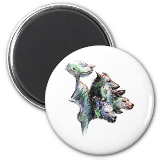 Hairy six pack 6 cm round magnet