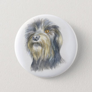 Hairy terrier 6 cm round badge