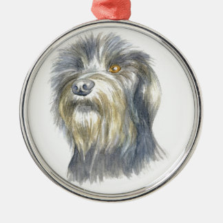 Hairy terrier Silver-Colored round decoration