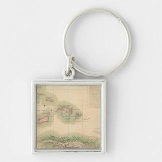 Haiti and Dominican Republic Sep 68 Silver-Colored Square Key Ring