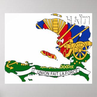 Haïti Chérie Map Poster