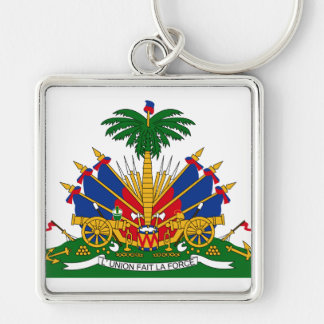 Haiti Coat of arms HT Silver-Colored Square Key Ring