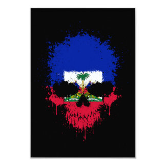 Haiti Dripping Splatter Skull 9 Cm X 13 Cm Invitation Card