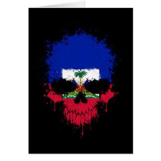 Haiti Dripping Splatter Skull Greeting Card