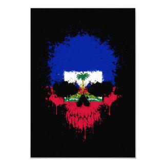 """Haiti Dripping Splatter Skull 3.5"""" X 5"""" Invitation Card"""