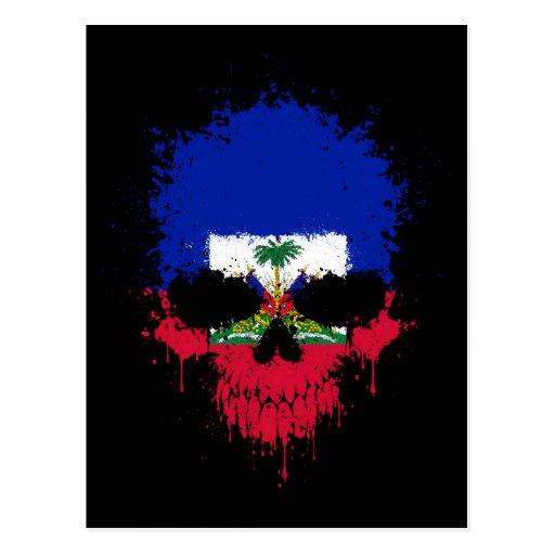 Haiti Dripping Splatter Skull Post Cards
