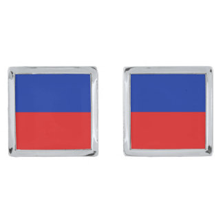 Haiti Flag Cufflinks Silver Finish Cuff Links