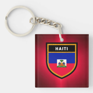 Haiti Flag Double-Sided Square Acrylic Key Ring