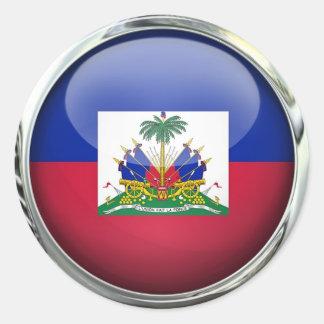 Haiti Flag Glass Ball Classic Round Sticker