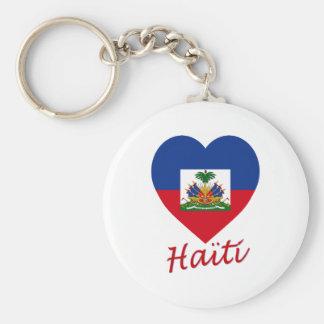 Haiti Flag Heart Basic Round Button Key Ring