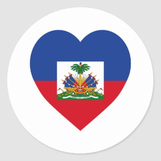 Haiti Flag Heart Classic Round Sticker