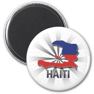 Haiti Flag Map 2.0 6 Cm Round Magnet