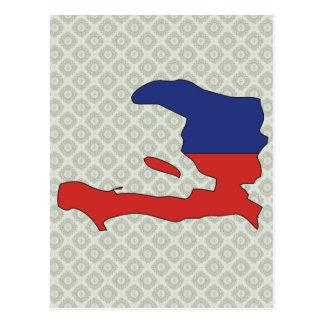 Haiti Flag Map full size Postcard