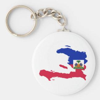 Haiti Flag Map HT Basic Round Button Key Ring
