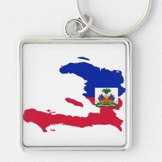 Haiti Flag Map HT Silver-Colored Square Key Ring