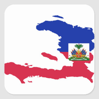 Haiti Flag Map HT Square Sticker