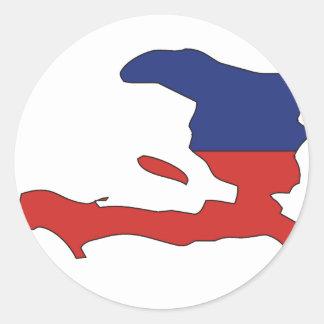 Haiti flag map round sticker