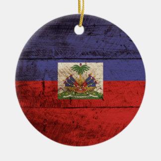 Haiti Flag on Old Wood Grain Christmas Ornament