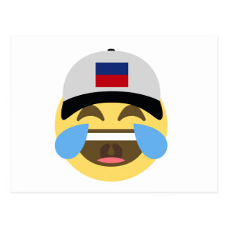 Haiti Hat Laughing Emoji Postcard